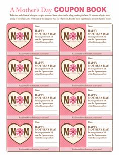 Mother's Day coupons for your kids!