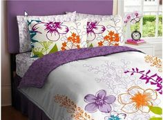 Purple, Green, Orange & White Girls Multi Flower Twin Comforter Set (5 Piece Bed In A Bag) by Home Fashion. $52.89. The set includes: 1- TWIN Size Comforter, 1- Flat Sheet, 1- Fitted Sheet, 1- Pillowcase & 1- Sham.. Update your bedroom or dorm room with this fashionable, nature-inspired Multi-Floral Bedding Set. The reversible comforter allows you to change the look of your room every time you make your bed. The bed set comforter features a colorful, floral design and reverses to...