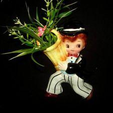 Vintage Lefton Dainty Miss Cutie Pie Wall Pocket Plaque Boy Mate