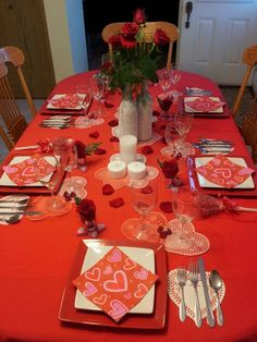Valentine dinner party table setting.