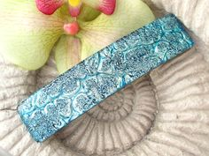 Silver Blue Barrette  Hair Barrette  French Barrette  by ccvalenzo, $24.00