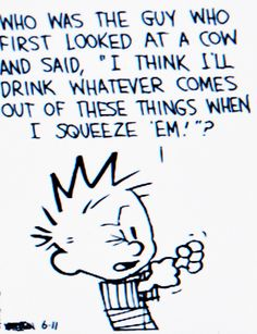 """Calvin and Hobbes QUOTE OF THE DAY (DA): Who was the guy who first looked at a cow and said, """"I think I'll drink whatever comes out of these things when I squeeze 'em!""""? -- Bill Watterson"""