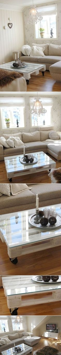 DIY Coffee Table With A Glass Top from Wooden Pallet