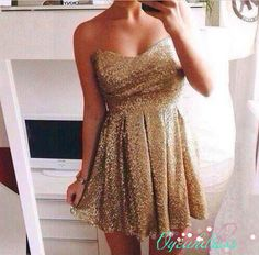 Short Gold Homecoming Dress, Sequin Prom Homecoming Dress, Sexy Glitter Sequin Dress, Gold Bridesmaid Dress, Sparkly Cocktail Dress Sexy