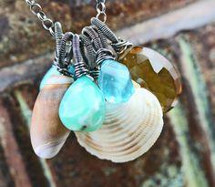 Life's a Beach  Seashell & Gemstone Charm by JewelsByLDesigns, $59.00