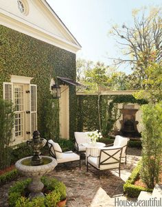 Outdoor Courtyard- House Beautiful outdoor rooms, secret garden, french quarter, side yards, patio, hous, backyard, outdoor spaces, courtyard