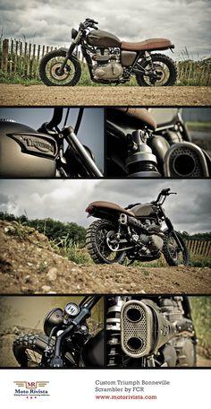 Triumph Bonneville Scrambler | Today's feature, a custom #Triumph Bonneville Scrambler. Built by French #motorcycle fabricators Sebastian Guillemot and Matthew Menard of FCR.