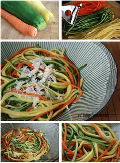 Veggie Noodles- Wash the vegetables, then dry.   Use a julienne peeler to form noodle shapes from the zucchini, squash, and carrot. Peel the entire vegetables.  Steam the noodles.  Once cooked, place the noodles in a bowl and if top with some lemon juice. (parmesan cheese if not doing Daniel Fast).  Think I'd add some protein here, but this looks like a good way to get in your veggies!