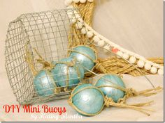 1 balls, rope frame, frames, bathrooms, diy minibuoy, minis, seaside, ropes, wire baskets