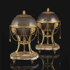 A PAIR OF LOUIS XVI ORMOLU-MOUNTED AGATE-COVERED VASES  CIRCA 1785, POSSIBLY NORTH EUROPEAN