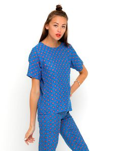 Buy Motel Pacey T Shirt and Jeanie Pants Pack in Windsor Blue at Motel Rocks
