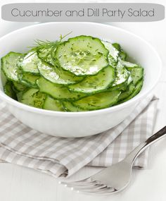 cucumberanddill salad.A cool cucumber salad makes a great side dish for summer parties. They're also a cinch to make, and pair perfectly with any grilled meat or fish.