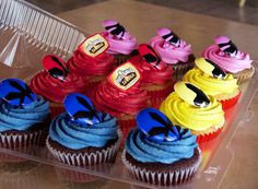 extremely simply Power Rangers Cupcakes. Just colored butter-cream icing with PR rings as the toppers.