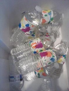 Duct Tape from Dollar Store on water bottles for party