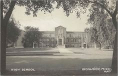 UP Ironwood MI RPPC 1940s built in 1924 Old LUTHUR WRIGHT High School