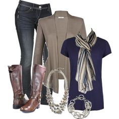 """""""Taupe, Navy, Green & Brown"""" by chells-style on Polyvore"""