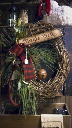 Country Christmas christma wreath, christmas wreaths, primitive christmas, christma shop, jingle bells, jingl bell, rustic christmas, winter wreaths, homestead