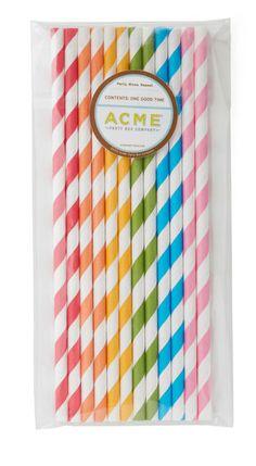 Colorful cute stripey straws.