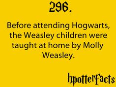 Harry Potter Facts #296: Before attending Hogwarts, the Weasley children were taught at home by Molly Weasley.