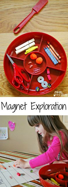 Preschool Science - Magnet Exploration Kids learn about magnets are they guess which items are magnetic and test out their theories. #preschool #activities