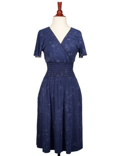'S OWN! Printed Blue Smocked Dress by Teddy