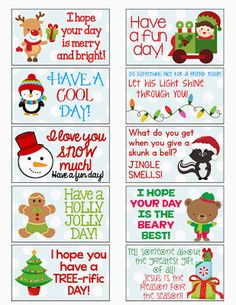 FREE Christmas Lunch Box Notes