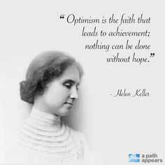 Happy birthday to women's suffragist and social activist Helen Keller, whose hope and optimism enabled her to overcome great challenges!