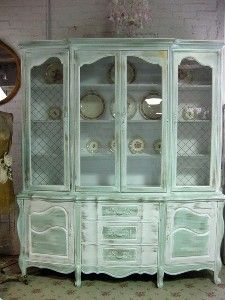 vintage shabby white french provincial china cabinet