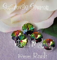 Vitrail Medium Rivoli Sew On - Swarovski Crystal 14mm 1122 in a SP 4-hole Prong Setting - Wire Jewelry Supply - Component