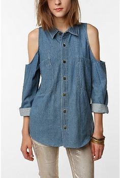 UrbanOutfitters.com > Urban Renewal Cold Shoulder Denim Shirt    Can't wait for this to come in the mail.