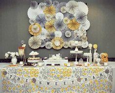 dessert tables, wall decor, sweet bar, color schemes, baby shower ideas, babi shower, parti, paper rosettes, baby showers