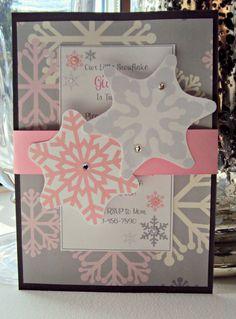 Winter Wonderland Invitations, Snowflake Invitation , Winter Onederland on Etsy, $30.00