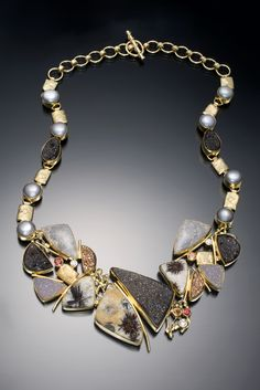 Jennifer Kalled: Drusy quartz necklace with diamond, petrified coral, pearl, orange sapphire in 22k and 18k gold.