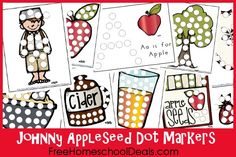 printables, dot marker, markers, marker printabl, applese dot, free johnni, dots, johnny appleseed, johnni applese