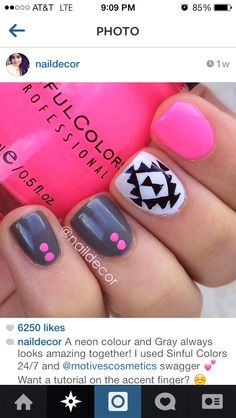 Gel Nail Design....love the gray with 2 dots in a line