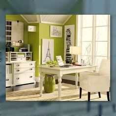 Home Office Ideas to Create Your Perfect Work Space wall colors, paint, desk, accent colors, offic idea, officeguest room, green office, decor idea, home offices