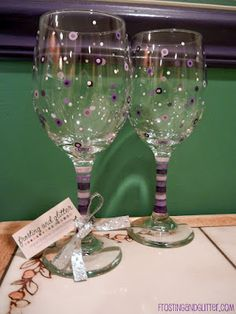 Purple Dot Wine Glasses