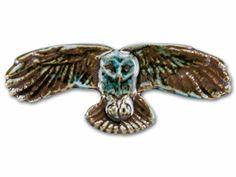 Porcelain Blue Owl in Flight Cabochon