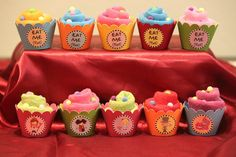 Washcloth cupcakes at a Alice in Wonderland Party #aliceinwonderland #babyshower