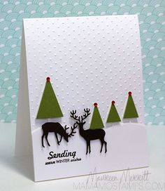 mo stamp, winter scene, christmas trees