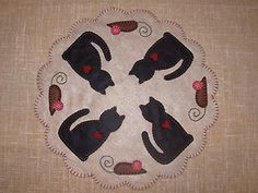 cats, penny rugs, embroidery patterns, felt project, felt penni, wool appliqu, felt embroidery, felt appliqu, penni rug