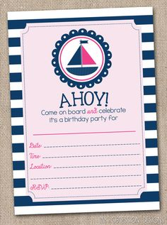 Nautical Pink Sailboat Girls Fill In Birthday Party Invitations Printable Kids Birthday Party Invite INSTANT DOWNLOAD PDF