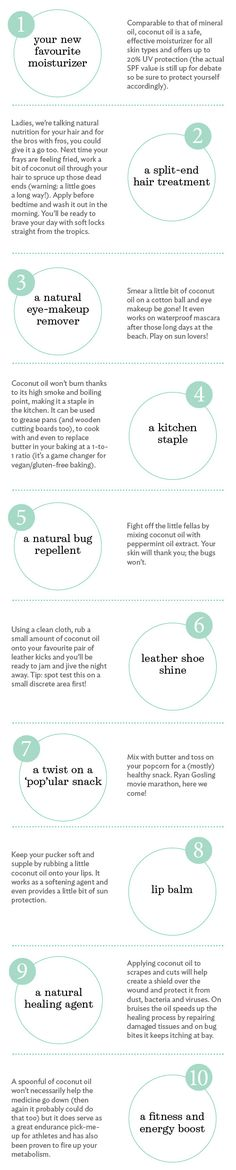 10 ways to use coconut oil - natural bug repellent, makeup remover, split-end hair treatment and more!