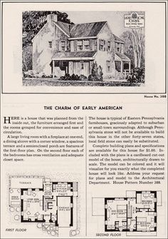 | house plan | The Charm of Early American, Ladies Home Journal Design No. 388, 1935, typical Eastern Pennsylvania stone farmhouse