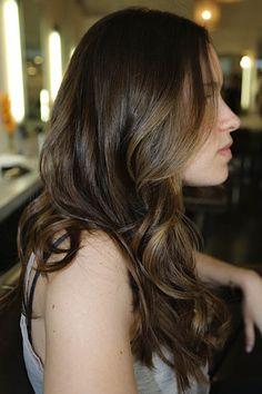 I like this color-warm brunette with subtle highlights