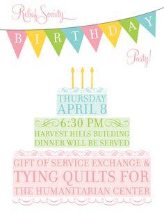 Invitation - Happy Birthday, Relief Society!