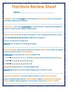FREE - Fractions Review Sheet - 4 pages