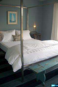 Jeffrey Alan Marks  -  Nantucket decor, wall colors, benches, guest bedroom, blue bedrooms, nantucket, seren bedroom, master bedroom, jeffrey alan marks bedroom