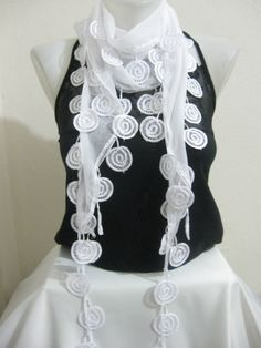 Traditional Turkish Fabric Fringed WHITE Guipure Scarf