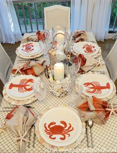Summer Dining: http://betweennapsontheporch.net/nautical-table-setting-tablescape-with-lobster-crab-plates-and-fishnet-tablecloth/